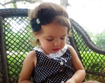 Black Shabby Chic Headbands..Black Headbands, Newborn Headbands, Baby Headbands, Infant Headbands, Toddler Headbands, Girls Headbands