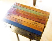 Multi-Colored Reclaimed Wood Side Table