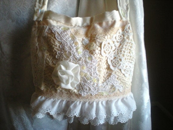 Vintage Inspired Purse - Shabby Chic - Victorian - Vintage Linens and Lace - Romantic Bag
