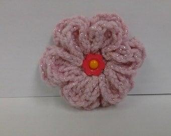 Girls Crochet Hair clip, Pink crochet hair clip