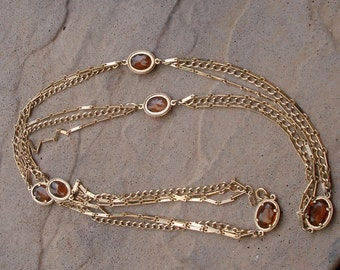 Emmons Faux Whiskey Topaz Chain Necklace
