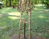 "LISTING ENDS 12-11 sale  was 89 now 70 Vintage cast metal FAIRIES/fairy scroll large easel for your painting 24"" tall art nouveau"