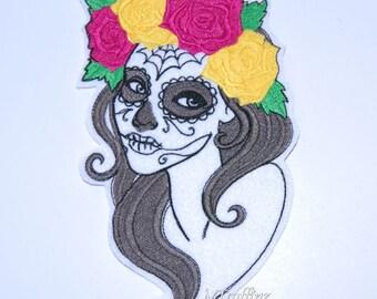 Calavera Skull Girl Dia de los Muertos Iron On Embroidery Patch MTCoffinz