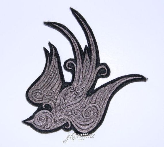 Baroque Swallow Sparrow Grey Rockabilly Iron On Embroidery Patch MTCoffinz