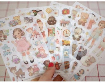 Korea Paper Doll Mate Deco Translucent Sticker -  Version 2 - 6 sheets