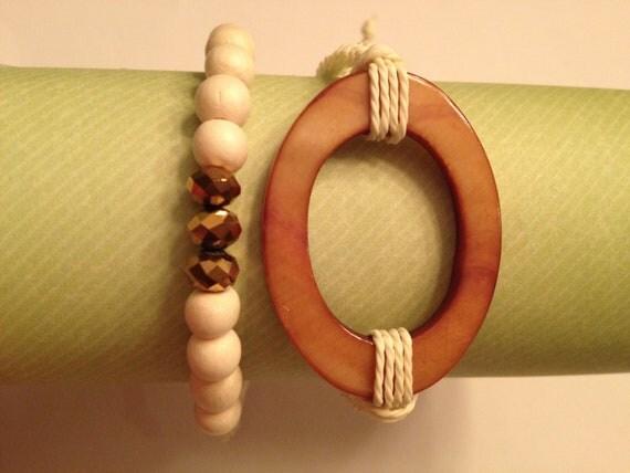 Macrame and beaded bracelet stackable/set