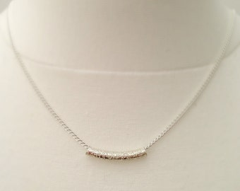 Silver Bar Necklace,Tube Necklace, Simple Silver Necklace, Dainty Jewelry Minimal Uk Shop, Bridesmaid Gift, Christmas Gift