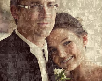 Custom Personalized Wedding Photo Collage Mosaic (10x10 or 8x10 Inch) - Wedding Wall Art