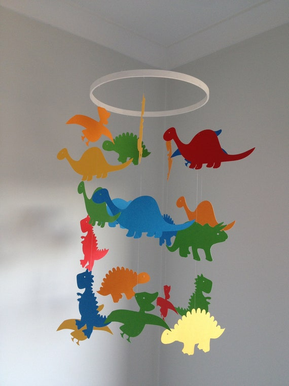 Items Similar To Paper Dinosaur Hanging Mobile On Etsy