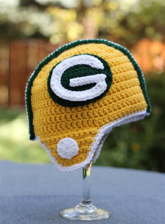 Crochet Pattern Green Bay Packer Afghan : Items similar to Green Bay Packers Helmet Hat - Baby ...