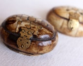 Oval box - small Moroccan jewelry box, gold metal and dark camel bone, purple plush inside, gold inlay, owl clasp - handmade Valentine gift