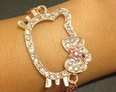 Hello Kitty crystal bracelet in Rose Gold