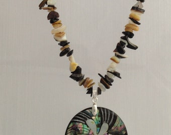Abalone Shell & Shell Necklace with Sterling Silver Clasp - Genuine Gemstone