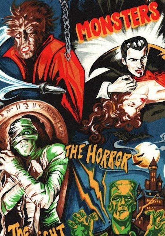 Robert Kaufman Horror Movie Monsters Midnight 2 yards (Ready to Ship)