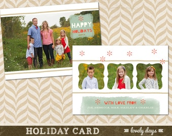 Christmas  Holiday Card Template Photo Photographer INSTANT DOWNLOAD