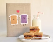 PB&J Best Friends BFF 4x6 Photo Album: Neutral Colored Fabric, Peanut Butter and Jelly Applique, Best Friends