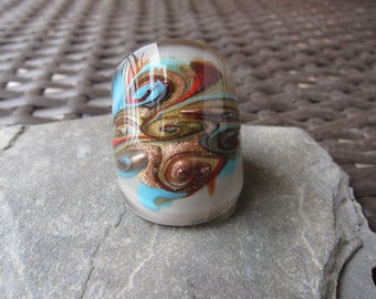 Mod Colors Murano Glass Statement Ring - size 7.5