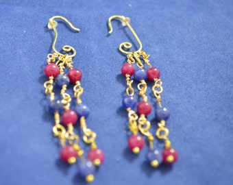 Rubies and Sapphires Chandelier Earrings E120
