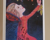 """Whimsical fairy tale greeting card.  """"Fly to the Heavens"""""""