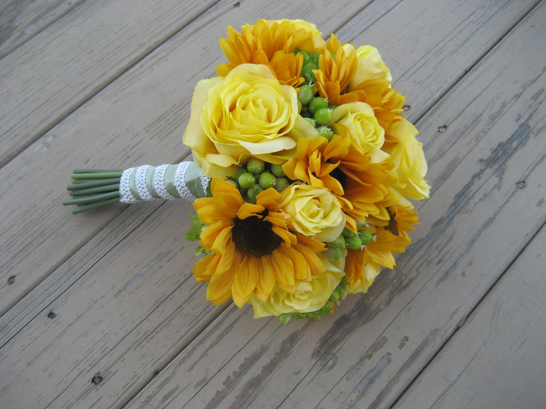 Wedding Bouquet Sunflowers Hypericum Berries Delphinium And