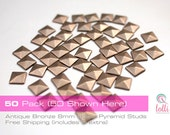 8mm Antique Bronze - 50 Pack - Flat Back Pyramid Studs (Iron On, Hot Fix, Glue)