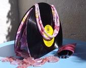 Upcycled Vinyl Record Handbag with 80's Retro Loveheart Sweets Fabric.