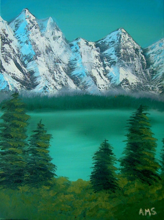 """Mountain Spring Original Canvas Painting 18"""" by 24"""" Canvas"""