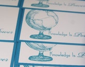 World Globe Note Card in Blue All Occasion Set of Ten