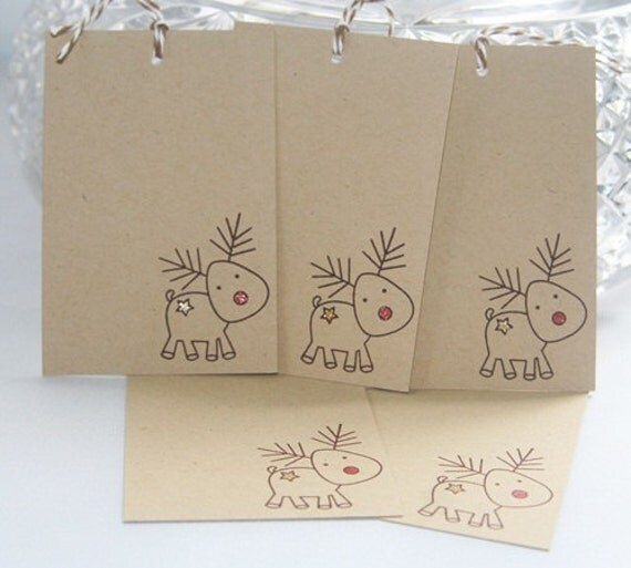 Christmas Gift Tags Reindeer with Red Nose on Kraft Set of Five, Holiday Party Favor Gift Tags,