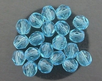20 aquamarine czech fire crystal faceted beads 6mm