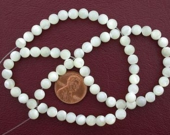 6mm round gem white mother of pearl beads