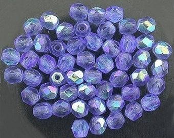 25 sapphire  ab czech fire crystal beads 4mm
