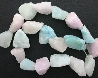strand large rough dyed white jade nugget beads