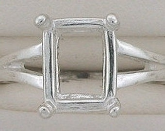 sterling silver 10x8 emerald cut ring mounting size 7