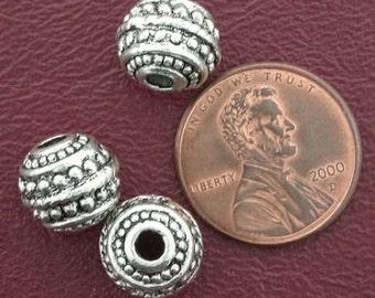 3 10mm ornate round  bali pewter beads