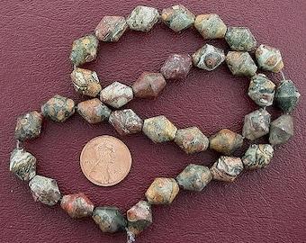 bicone gemstone leopardskin jasper beads