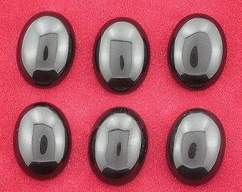 FOUR 16x12 oval  black onyx cabochon gem stone gemstone