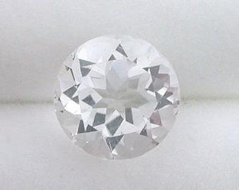 one 6mm round white topaz gem stone gemstone faceted