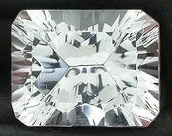 10x8 laser concave emerald- cut white topaz