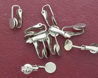 ten 8mm flat pad clip on earrings silverplate