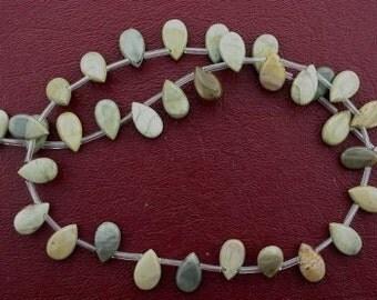 12x7 pear american picture jasper bead strand gem