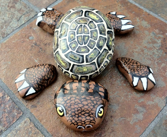 Turtle Handpainted On River Rock By Stoneandcanvas Etsy