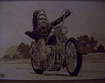 Pyrography art - Motorcycle