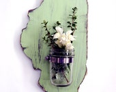 Mason Jar State Wall Decor ALL STATES AVAILABLE  Candle holder Flower Vase Sconce Rustic Wood Sign Wall Decor Housewarming Wedding Gift