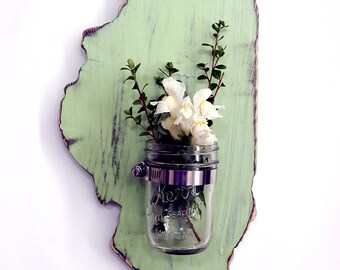 Mason Jar State Wall Decor ALL STATES AVAILABLE  Gallery Wall Decor, Candle  Flower Vase Sconce Rustic Wood Wall Decor Housewarming  Gift