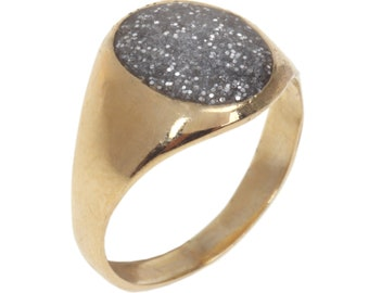 14K Gold plated signet ring inlaid with colorful enamel with glitters 14K Gold Filled signet ring inlaid with colorful enamel