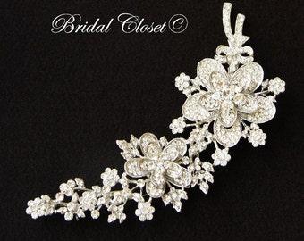 Bridal Brooch, Swarovski Crystal Flower Brooch, Dual Flower Brooch