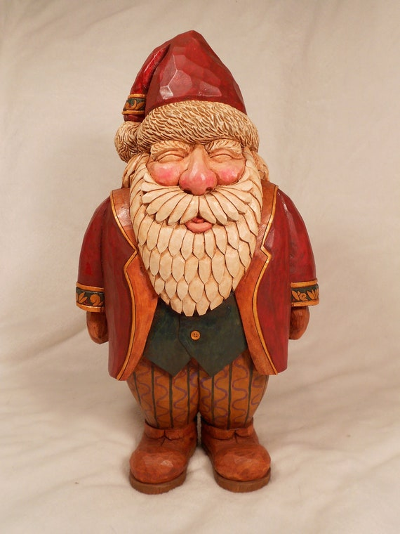 Hand carved wooden santa collectible