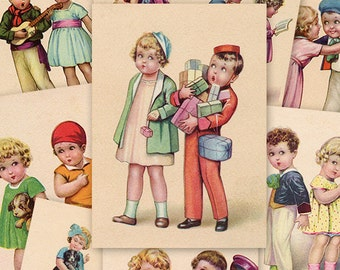 Children ATC ACEO cards Digital Collage Sheet for Scrapbooking Altered Art Victorian Style / AC21
