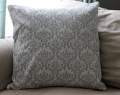 Gray and White Damask Pillow Cover- FOR KORTNEY